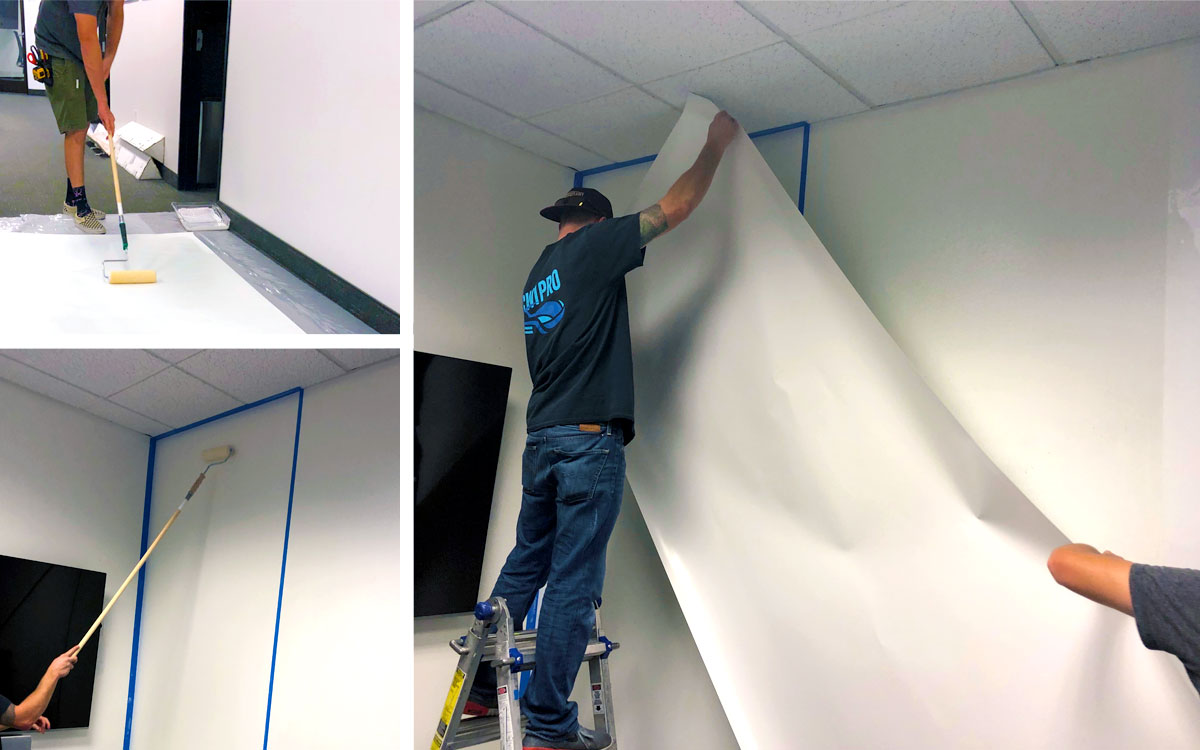 Installing Dry Erase Wall Paper in Corporate Offices - Available in both Gloss and Matte Finish with No Ghosting